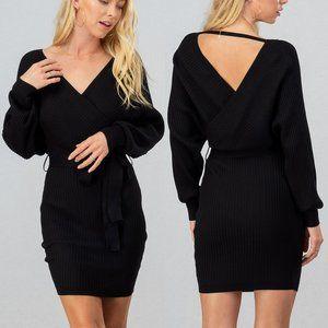 NEW Black Rib Knit Wrap V Neck Sexy Sweater Dress